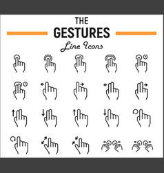 Touch gesture line icon set touchscreen and hands vector