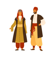 turkish man and woman in national costume vector image