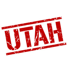Utah red square stamp vector