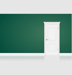 white closed door on green wall in room design vector image