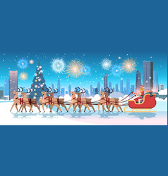 woman in santa claus costume riding sledge with vector image