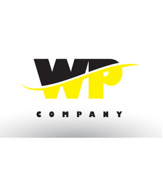 Wp w p black and yellow letter logo with swoosh vector