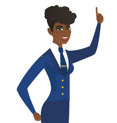 Young arican stewardess pointing foreinger up vector