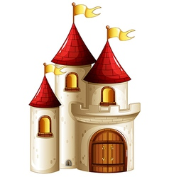 A castle with yellow banners vector
