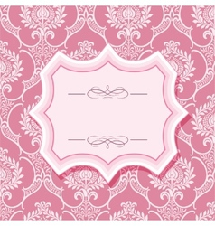 Frame on patterns in pastel pink vector image vector image