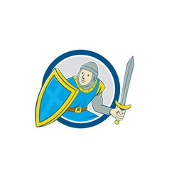 Medieval Knight Shield Sword Circle Cartoon vector image vector image