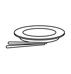 plate and chopsticks food chinese outline vector image vector image