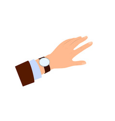 the hand of men looking at watch time for lunch vector image