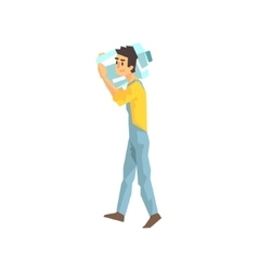 Worker Carrying Large Bottle Of Water For The vector image vector image