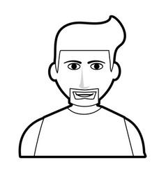 Black silhouette cartoon half body man with vector
