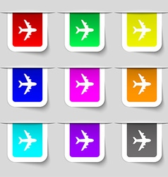 Plane icon sign set of multicolored modern labels vector