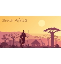 Background with landscape of South Africa vector image