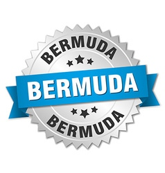 Bermuda round silver badge with blue ribbon vector image vector image