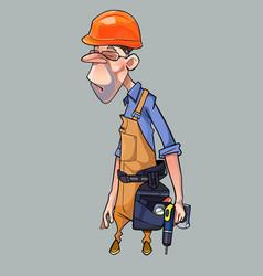 cartoon sad man in helmet and working clothes vector image