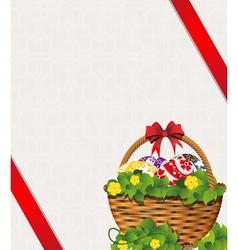 Easter basket on a beige background vector