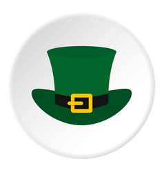 green top hat with buckle icon circle vector image
