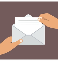 Hand Holding Opened Envelope Flat style vector image vector image