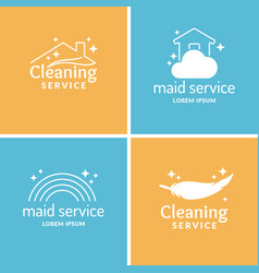 set cleaning and maid service label collection vector image