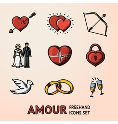 Set of hand drawn Love Amour icons with - heart vector image