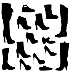 Womens shoes set black isolated vector image vector image