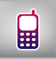 cell phone sign purple gradient icon on vector image vector image