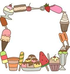 Frame of colorful tasty ice cream vector image vector image