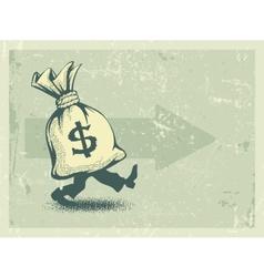Full sack of money walking vector image vector image