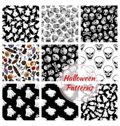 Halloween seamless decoration patterns set vector image vector image