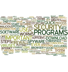 The minute secure pc text background word cloud vector