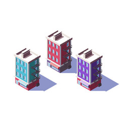 3d isometric mid-rise house with mini market on vector image