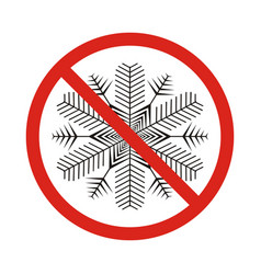 A forbidden signal with a snow flake vector