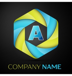 A letter colorful logo in the hexagonal on black vector