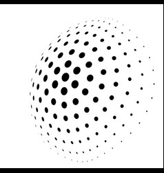 Abstract halftone 3d sphere of circle dots in vector