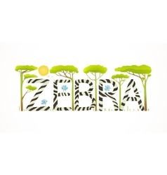 African Zebra Animals Fun Lettering Cartoon vector