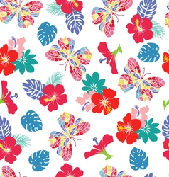 background with flower hibiscus and flying butterf vector image