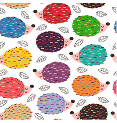 basic rgbseamless pattern with colorful hedgehogs vector image