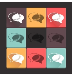 Beautiful pure talk icon set Simple flat square vector