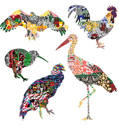 Birds decorated with ornaments vector