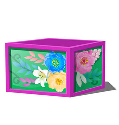 box with wooden frame and print of flowers vector image