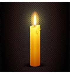 Candle with flame on transparent checkered vector