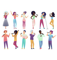 cartoon singers holding microphones and vector image
