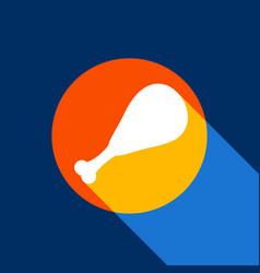 Chicken leg sign white icon on tangelo vector