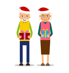 Christmas elderly older couple with presents vector