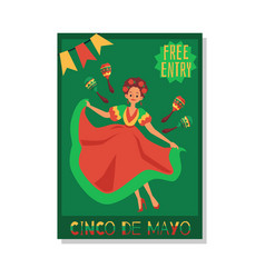 cinco de mayo celebration dance party invitation vector image