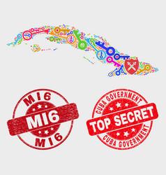 Collage safeguard cuba map and distress mi6 vector