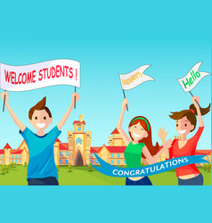 Concept cartoon happy students vector