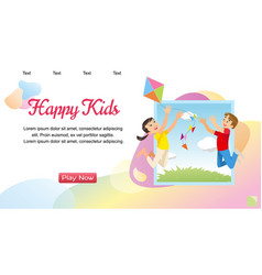 concept image playing happy kids vector image