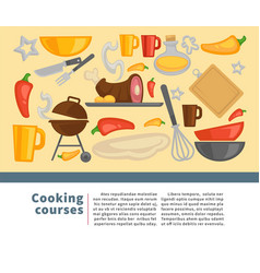 cooking school chef courses poster vector image