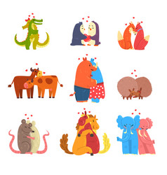 couple of cute animals in love embracing each vector image