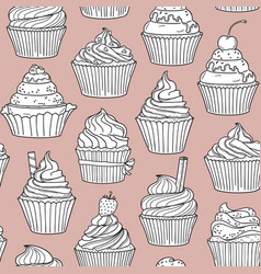 cupcakes seamless background vector image